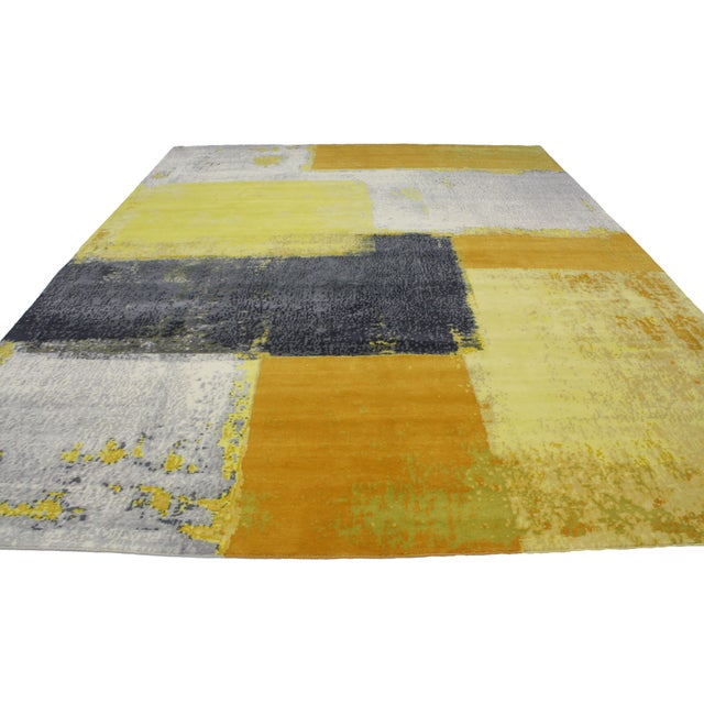 """Modern Style Contemporary Abstract Color Block Rug - 9' x 12'1"""" For Sale - Image 5 of 8"""