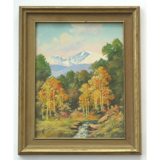 A vintage Rocky Mountain scene by Willard J Page, this is a two process piece, the mountains are screen printed, and the...