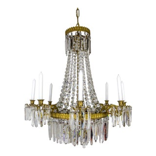 Neoclassical Crystal Tent 8-Arm Candle Chandelier W/ Interior Lights For Sale