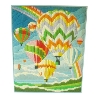 Vintage Framed Embroidery Hot Air Balloons