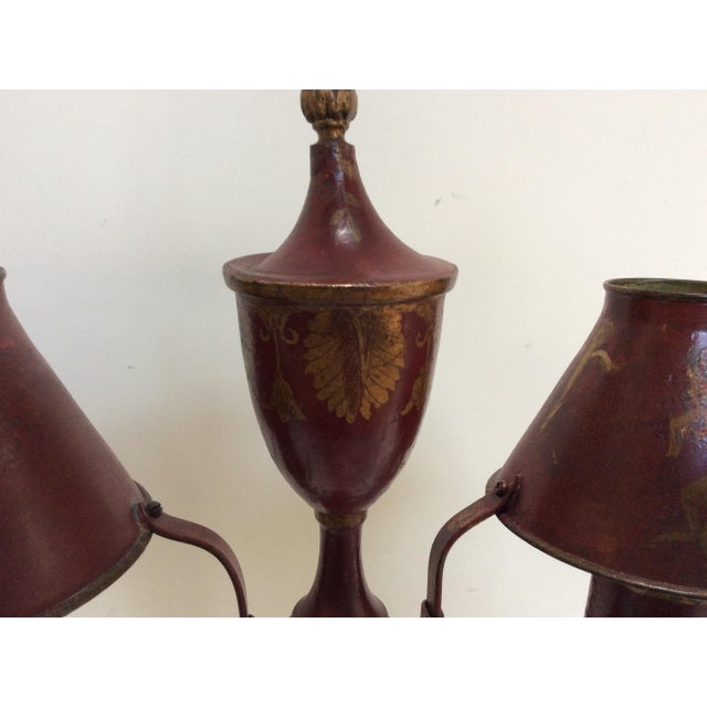 Antique French Red Tole Twin Shaded Table Lamp - Image 9 of 9