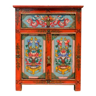 Orange Light Blue Tibetan Style Bird Floral End Table Nightstand For Sale