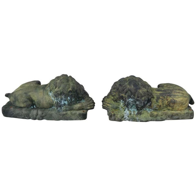 Metal Pair of Lions For Sale - Image 7 of 13