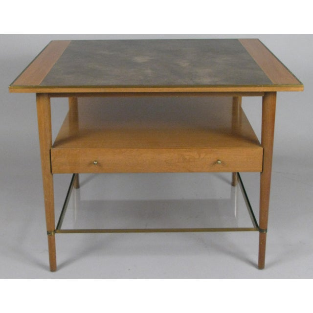 Wood 1950s Mahogany and Brass Table by Paul McCobb For Sale - Image 7 of 7