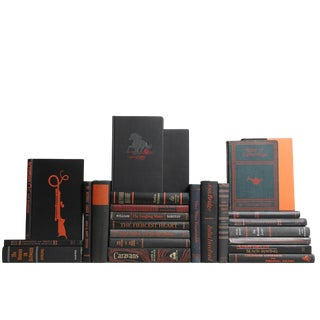 Midcentury Black & Orange Decorative Books, S/25