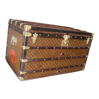 1930s Stenciled Monogram Louis Vuitton Steamer Trunk, Malle Louis Vuitton For Sale