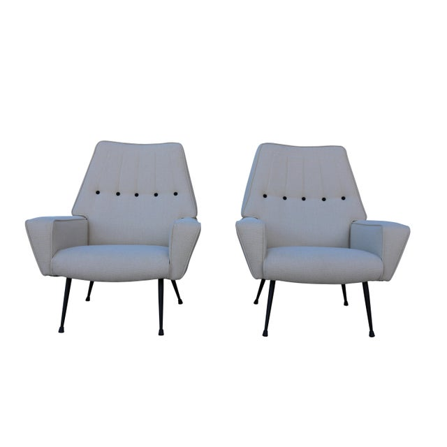Mid-Century Black & White Italian Armchairs - A Pair - Image 1 of 5
