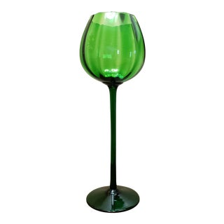 Vintage Mid Century Italian Emerald Green Art Glass Vase For Sale