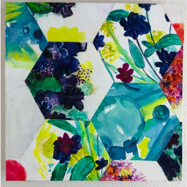 """This artwork is a collage painting. It is titled """"Renewal"""" and was created in 2016. It was displayed at the community..."""