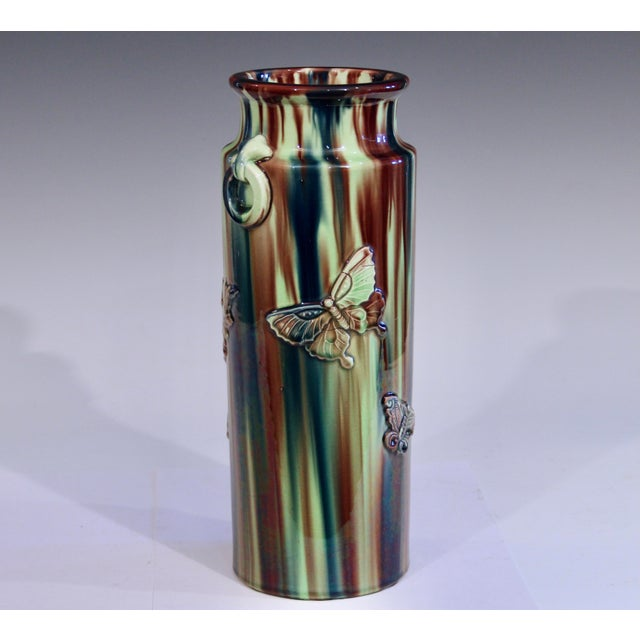 Japonisme Early 20th Century Pottery Vase with Butterfly Motif and Drip Flambe Glaze For Sale - Image 3 of 13