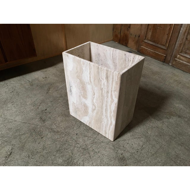 Tan 20th Century Modern Travertine Marble Planter For Sale - Image 8 of 11