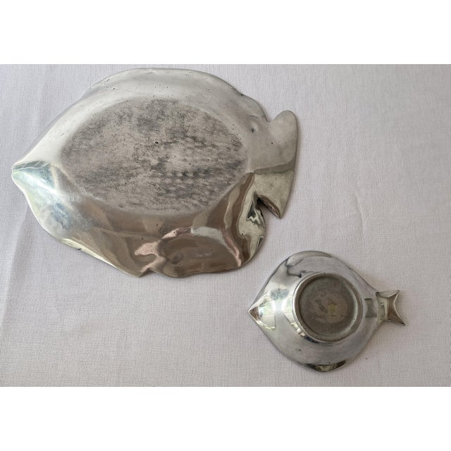 Pewter Fish Platter and Bowl Set - Set of 2 For Sale - Image 9 of 10
