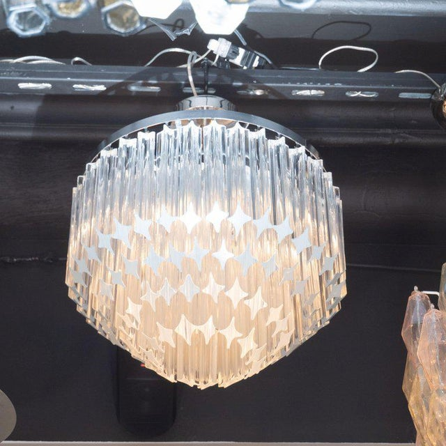 Mid-Century Modern Italian Mid-Century Modern Camer Chandelier With Chrome Detailing For Sale - Image 3 of 8