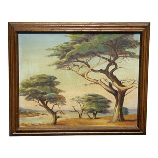 Vintage Oil on Canvas Picture Painting of Trees Signed by Grace Snow As-Is For Sale
