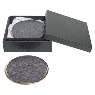 Six-Piece Set of Black Shagreen Coasters For Sale