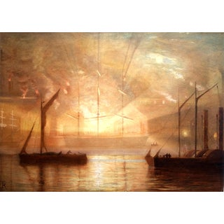 Mid-Century Shipyard Painting For Sale