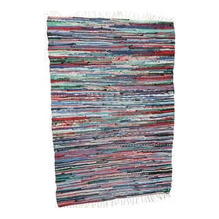"Swedish Handmade Rag Rug - 51""x 78.5"" For Sale"