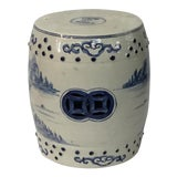 Image of Blue & White Garden Stool For Sale
