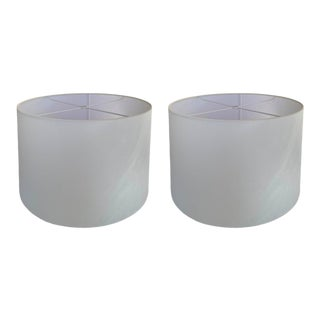 White Drum Lamp Shades - a Pair For Sale
