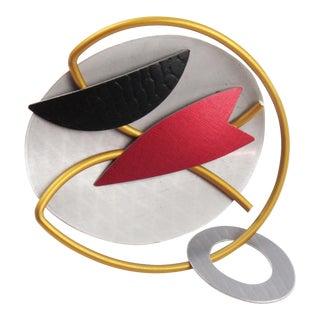 Hou Studios Futurist Aluminum Pin Brooch Modernist Machine Age For Sale
