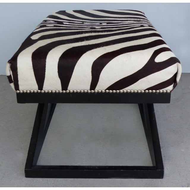 """Modern Barclay Butera Home """"Bel Air"""" Ottoman With Zebra Print Upholstery For Sale - Image 3 of 9"""