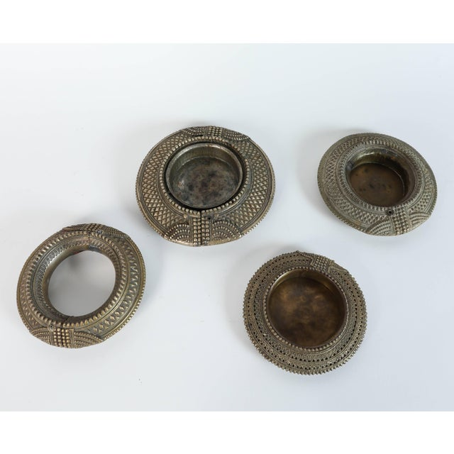 Set of Four Ethnic Silvered Traditional Ankle Bracelets From India For Sale - Image 9 of 9