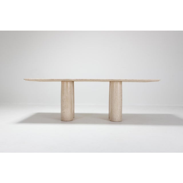 Mario Bellini 'Il Colonnato' travertine Mid-Century Modern luxury dining or conference table. Fits well in a 'nude'...