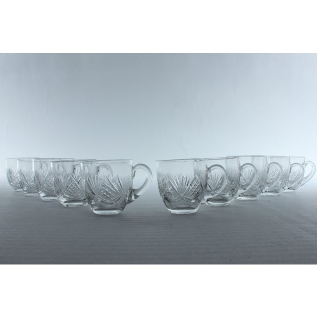 Fan Pattern Glass Espresso Mugs - Set of 10 - Image 2 of 3