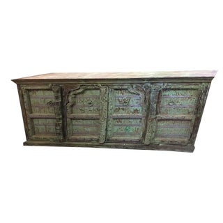 Shabby Chic Vintage Arched Doors Farmhouse Eclectic Rustic Distressed Green Sideboard For Sale