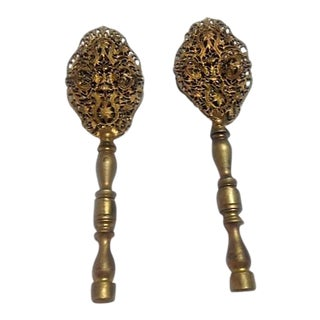 Vintage Filigree Brass Finials - A Pair