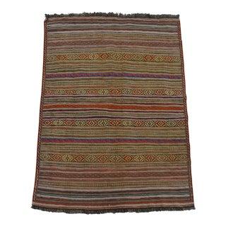 1990s Tribal Afghan Handwoven Brick Red and Purple Wool Kilim Rug