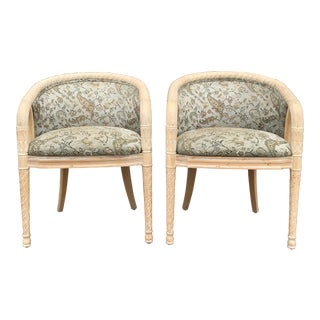 Late 20th Century Barrel Back Chairs - a Pair