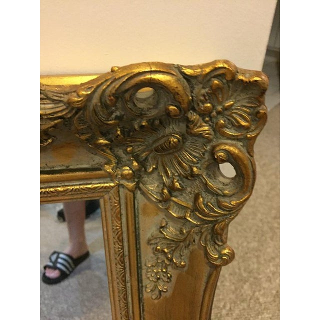 French 1970's Vintage French Gilded Gold Framed Mirror For Sale - Image 3 of 10