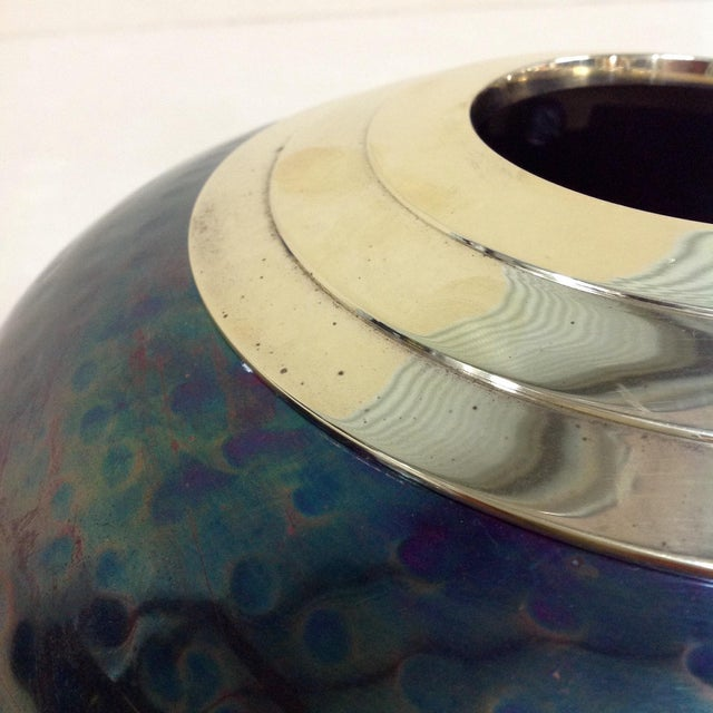 Green Iridescent Mixed Metal Vase For Sale - Image 8 of 8