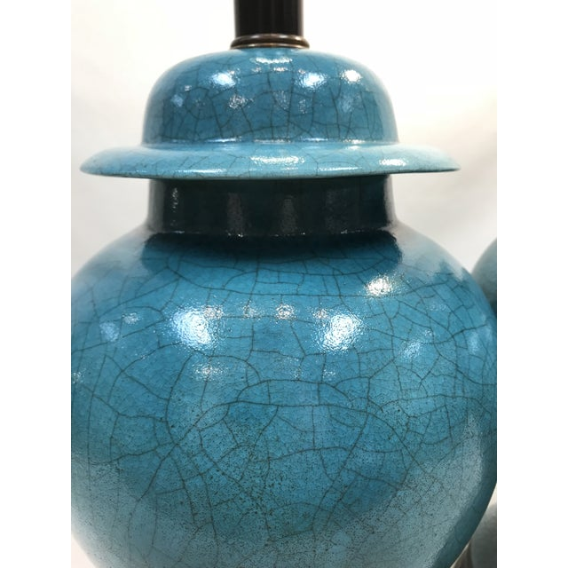 Ceramic Vintage Turquoise Ceramic Crackle Lamps- a Pair For Sale - Image 7 of 9