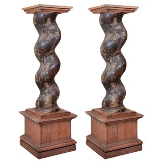 19th C. Louis XIII Style Twisted Wooden Columns - A Pair
