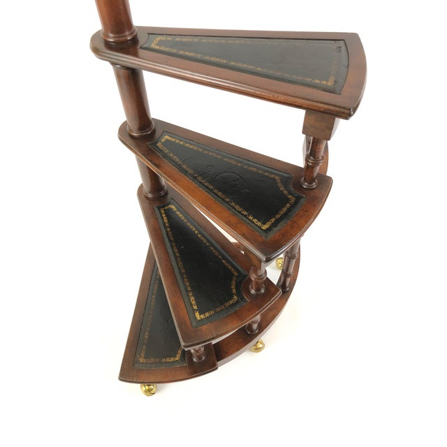 English Traditional 1980s Vintage English Style Decorative Mahogany & Embossed Leather Library Stairs For Sale - Image 3 of 12