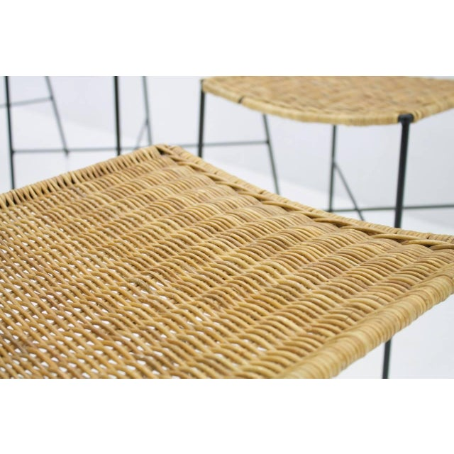 Set of Four Dining Room Chairs in Wicker and Metal, Germany, 1960s For Sale - Image 11 of 12