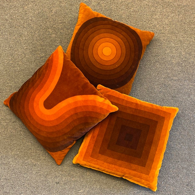 Mid-Century Modern Verner Panton Velour Pillows - Set of 3 For Sale - Image 13 of 13