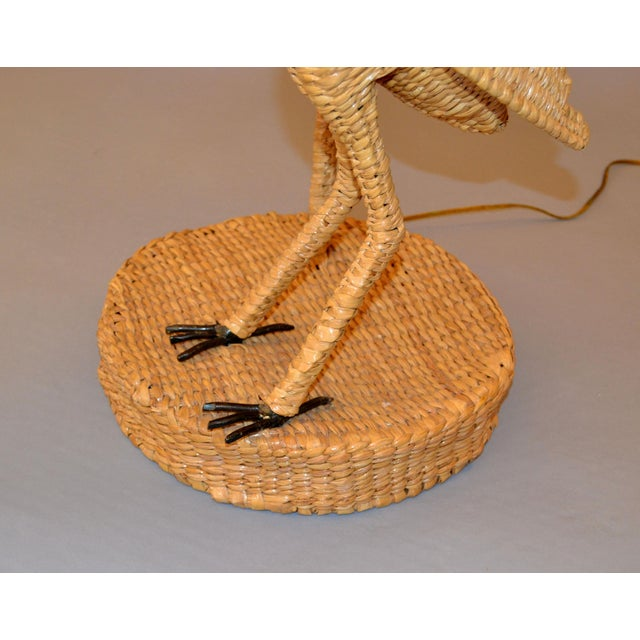 Brass Vintage Mario Lopez Torres Egret Wicker Rattan Table Lamp, 1974 For Sale - Image 7 of 13