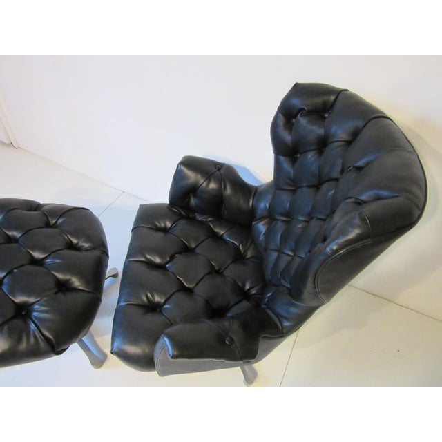 Late 20th Century Tufted Swiveling Lounge Chair and Ottoman For Sale - Image 5 of 10