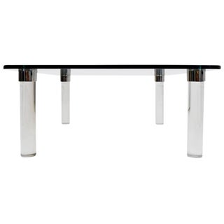 1970s Mid-Century Modern Pace Collection Coffee Table With Chrome Trim For Sale