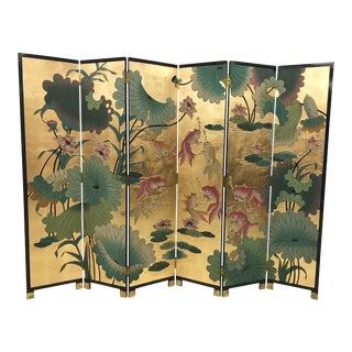 1960s Vintage Monumental Palm Beach Regency Style Asian 6 Panel Room Screen Divider For Sale