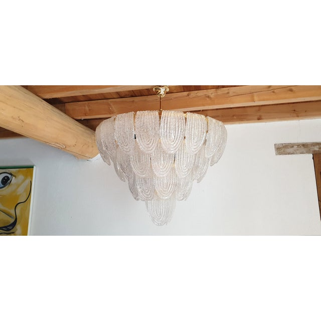 Mazzega Murano Large Mid-Century Modern Murano Glass Chandeliers by Mazzega For Sale - Image 4 of 12