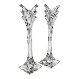 Vintage Mikasa Deco Single Crystal Candle Light Candle Holders - a PairTall Rare For Sale