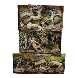 Mid Century Modern Glazed Earthenware Triptych. Wall Sculpture by Ugo Lucerni For Sale