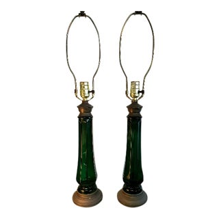 1960s Vintage Hollywood Regency Emerald Glass Lamps With Marble Base - a Pair For Sale