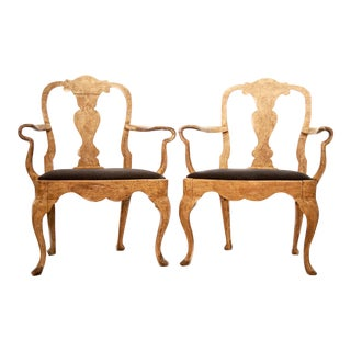 Swedish Rococo Style Armchairs - a Pair For Sale