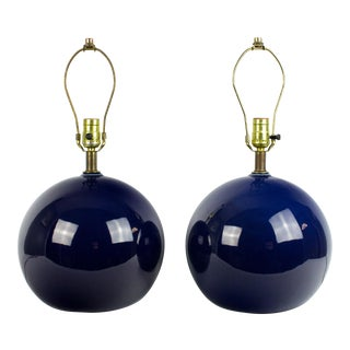 Vintage Navy Blue Globe Shaped Lamps - a Pair For Sale