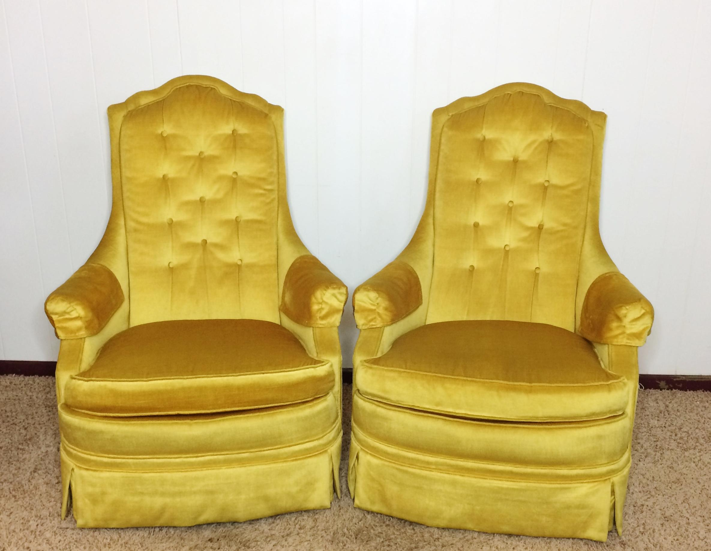 Sit In Style And Comfort With These Fabulous Mid Century Silver Craft Gold  Crushed Velvet